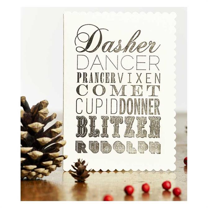 Katie Leamon Santa's Reindeers Christmas Card