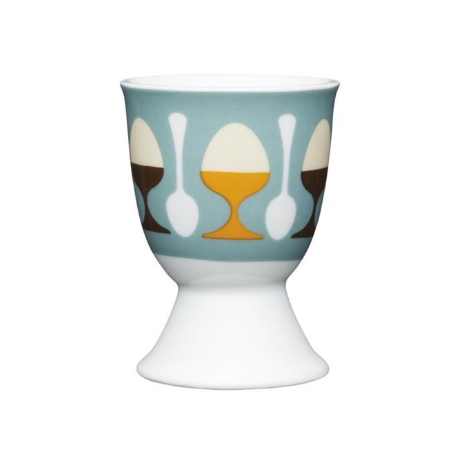 Kitchen Craft Traditional Porcelain Egg Cup: Retro Egg & Spoon