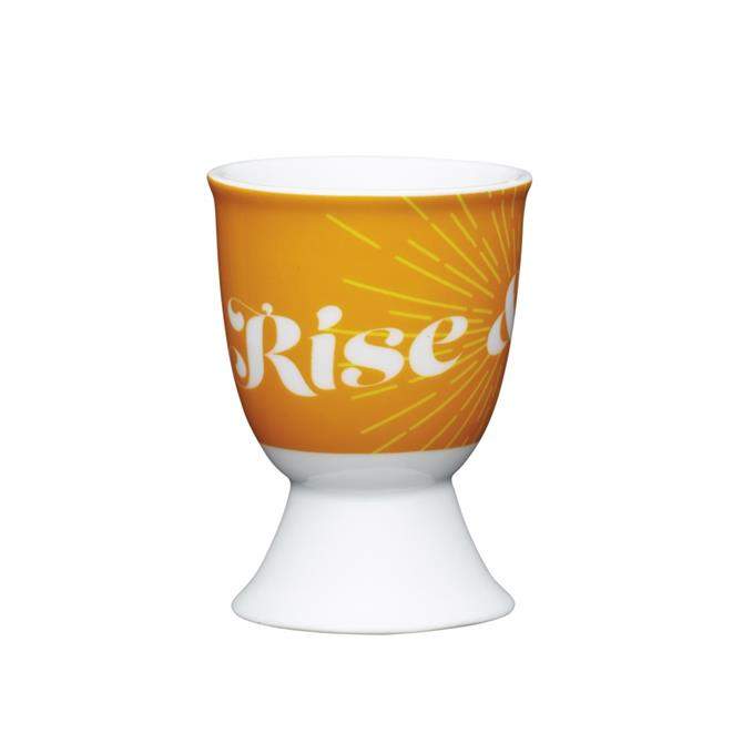 Kitchen Craft Traditional Porcelain Egg Cup: Retro Rise & Shine