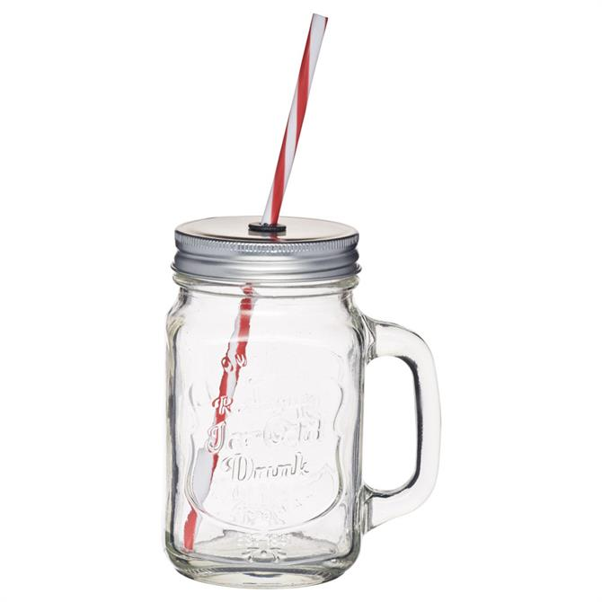 KitchenCraft Home Made Traditional Glass Drinks Jar with Straw