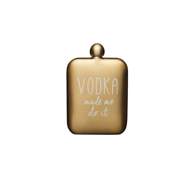 BarCraft Gold Stainless Steel 'Vodka made me do it' Hip Flask