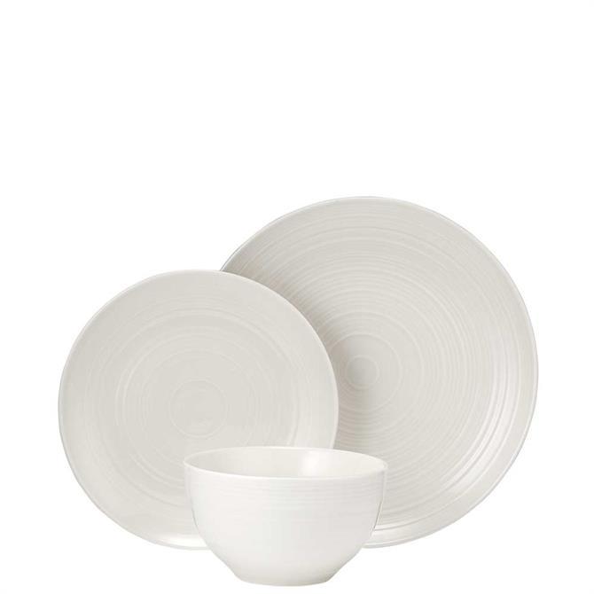 Ladelle Darby White 12 Piece Dinnerware Set