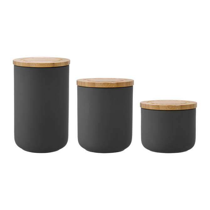 Ladelle Stak Soft Matt 13cm Ceramic Storage Canister: Charcoal