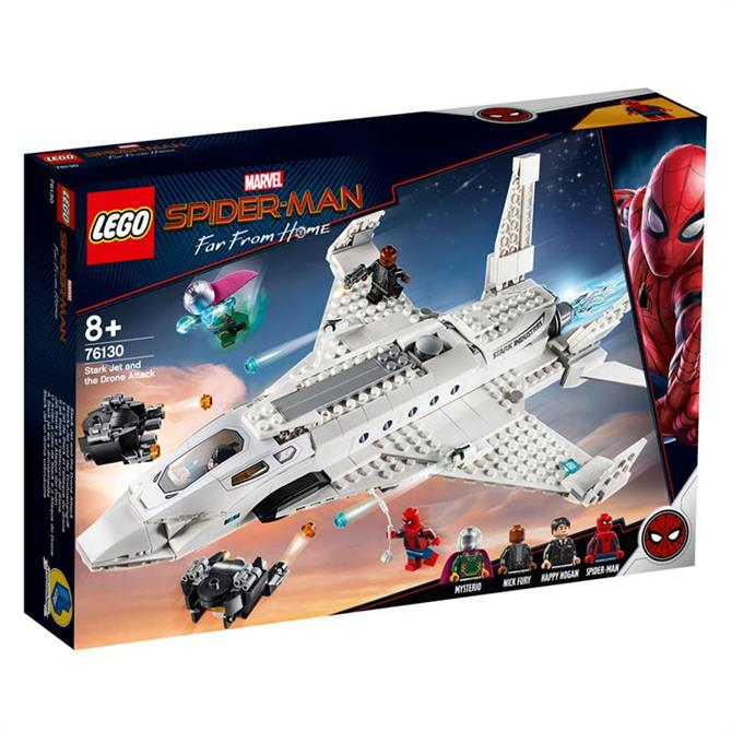 Lego Spiderman Stark Jet and the Drone Attack 76130