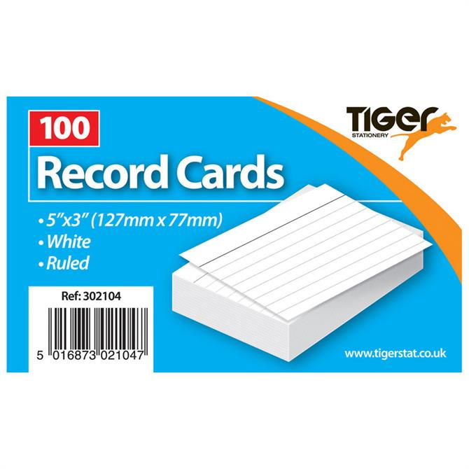 Tiger Stationery Record Cards 5 x 3