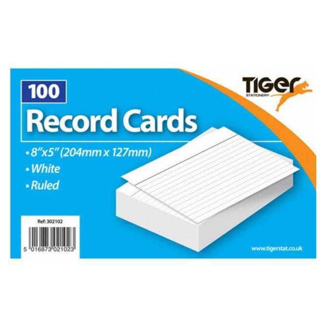 Tiger Stationery Record Cards 8 x 5