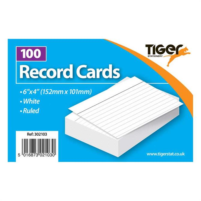 Tiger Stationery Record Cards 6 x 4