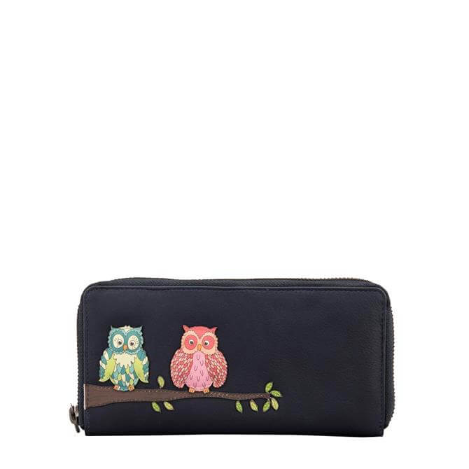 Yoshi Twit Twoo Navy Zip Around Leather Purse