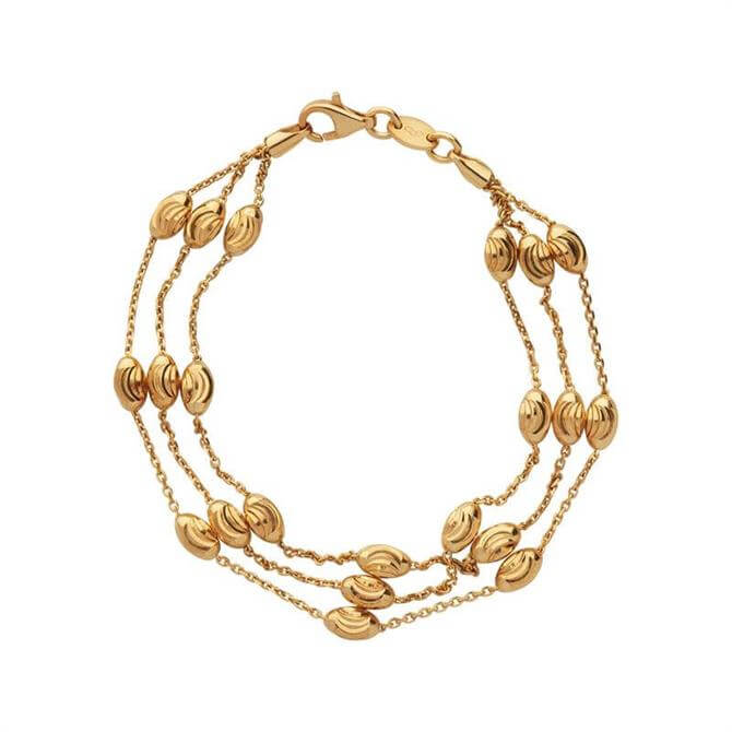 Links of London Essentials Beaded 18kt Yellow Gold 3 Row Bracelet Medium