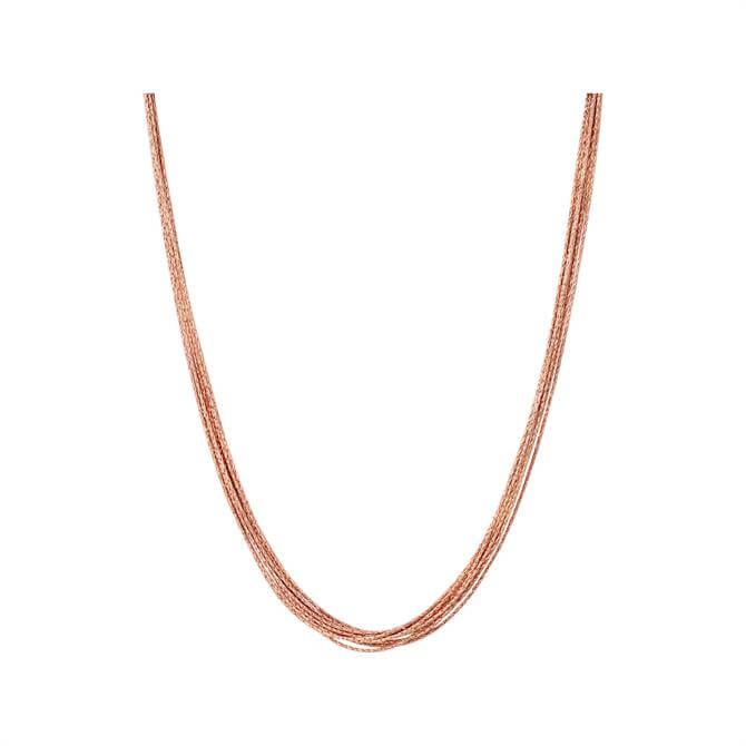 Links of London Essentials Silk 18kt Rose Gold Vermeil 10 Row Necklace 45cm