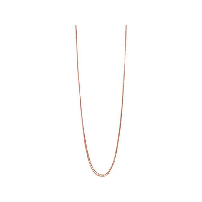 Links of London Essentials Silk 18kt Rose Gold Vermeil 5 Row Necklace 80cm
