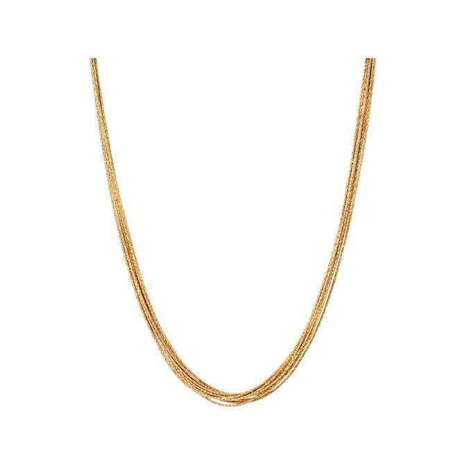 Links of London Essentials Silk 18kt Yellow Gold Vermeil 10 Row Necklace 45cm