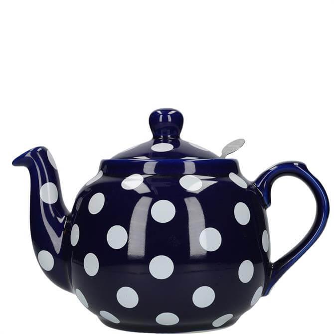 London Pottery Farmhouse 4 Cup Blue with White Spots Teapot