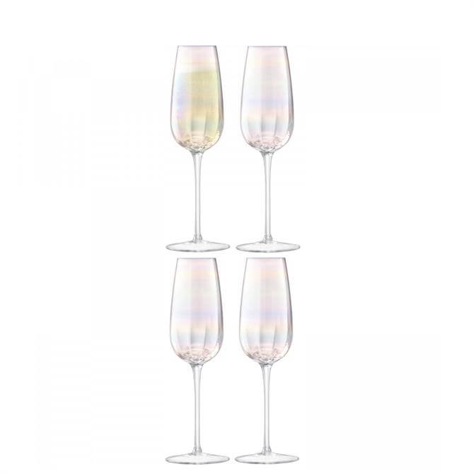 LSA International Set of 4 Pearl Champagne Flutes