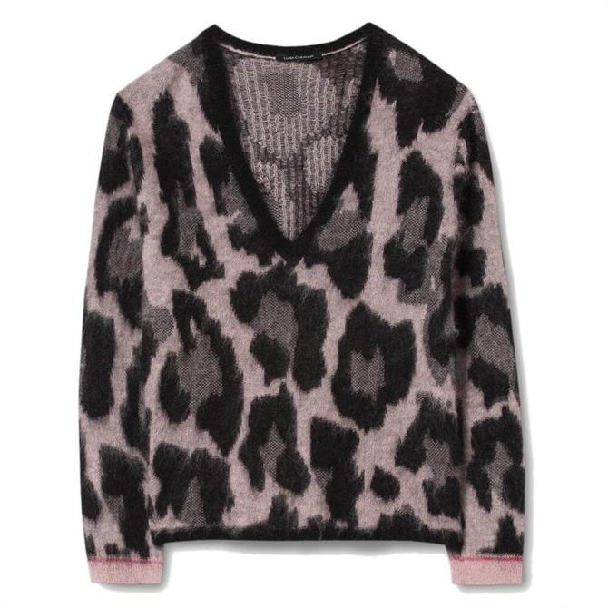 Luisa Cerano Mohair Leopard Print Jumper