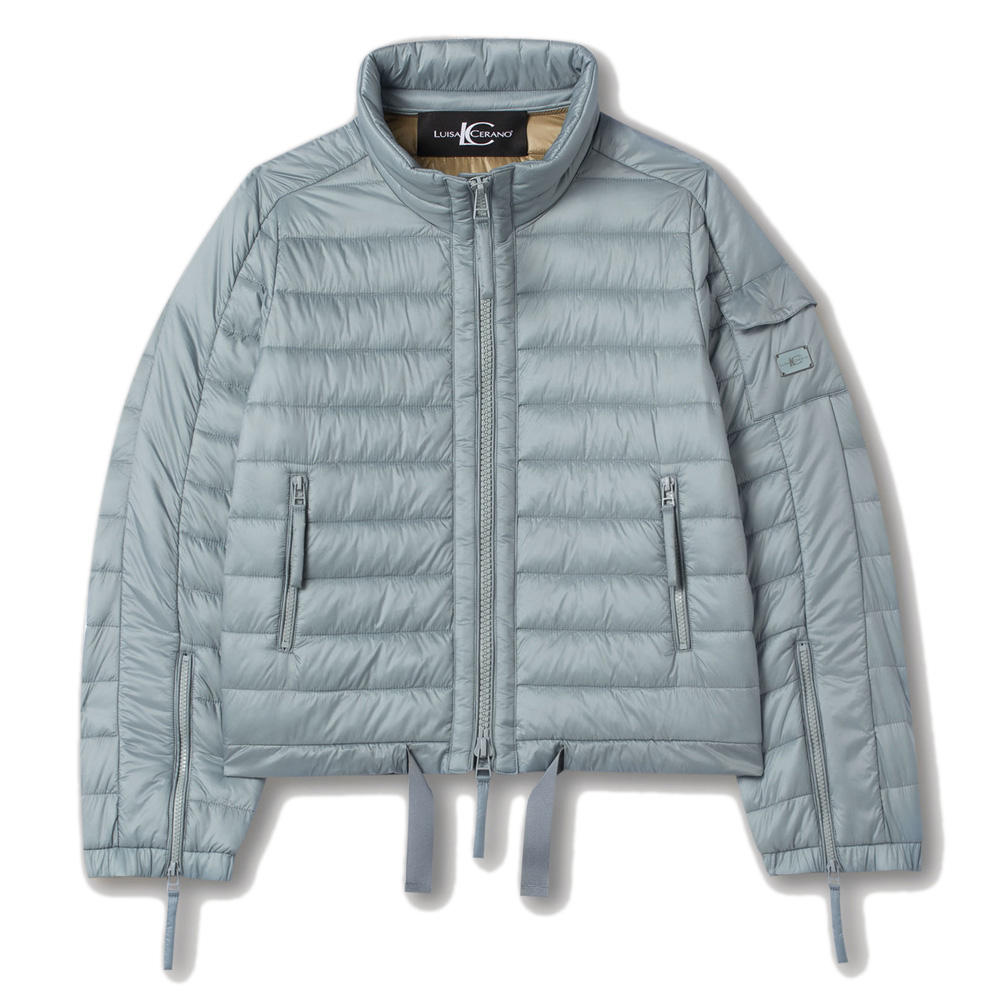 An image of Luisa Cerano Featherless Short Quilted Jacket - 10R, DUSTY BLUE 2417