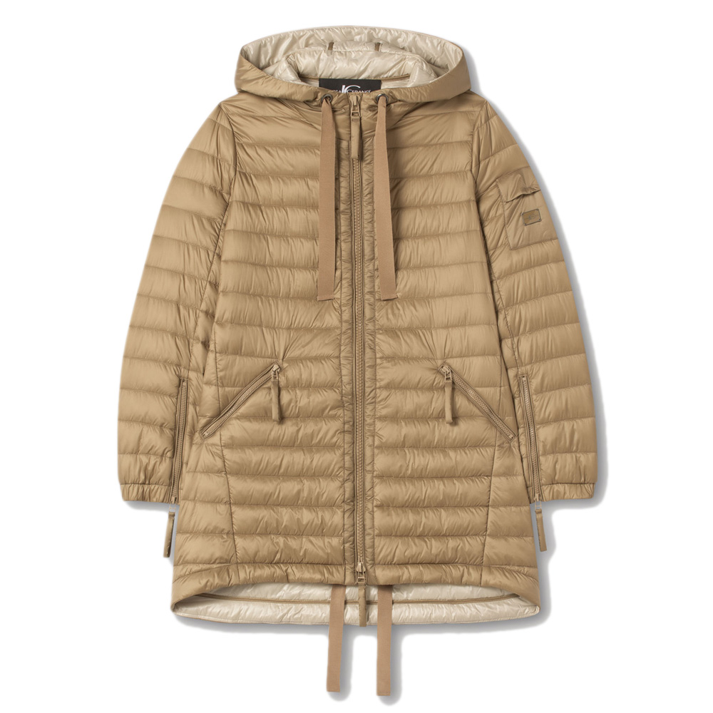 An image of Luisa Cerano Quilted Featherless Parka Coat - 12R, CARAMEL7371