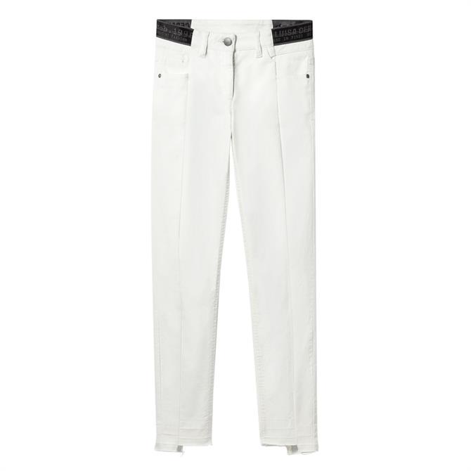 Luisa Cerano Logo Waist Ankle Length Jeans