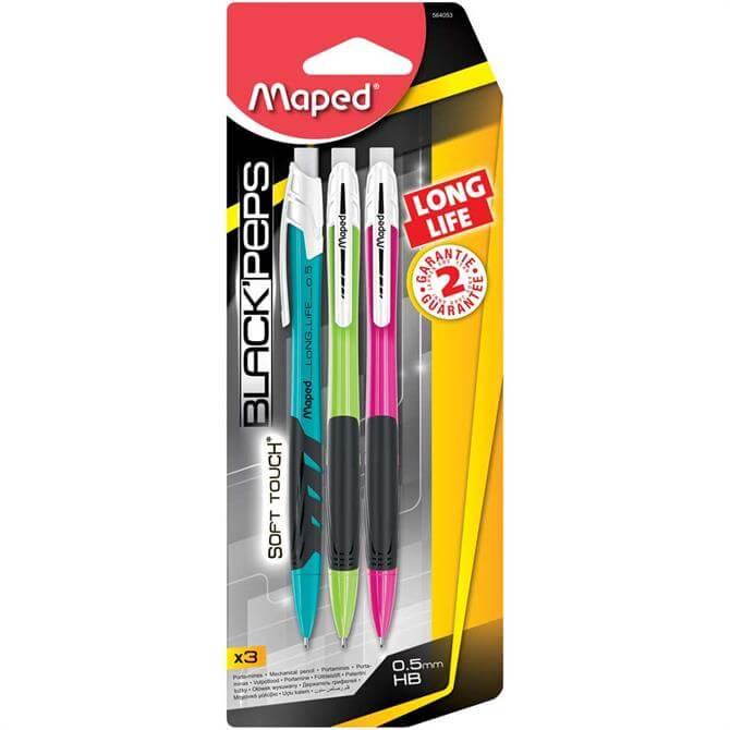 Maped Black Peps Long Life Mechanical Pencils 3 Pack