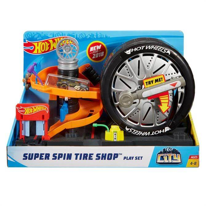 Mattel Hot Wheels City Super Spin Tire Shop