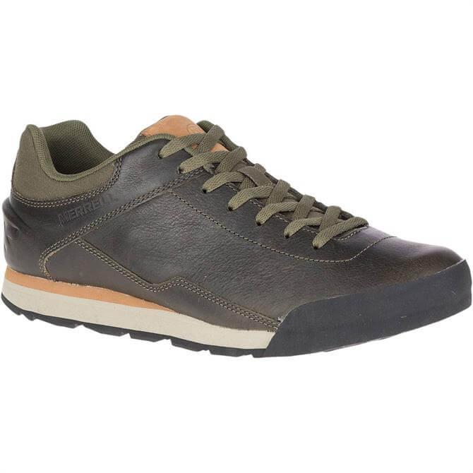 Merrell Men's Burnt Rocked Leather Dusty Olive Trainer