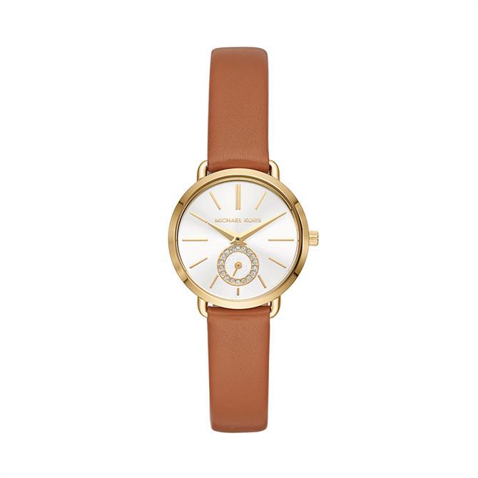 Michael Kors Women's Gold-Tone & Luggage Leather Portia Watch