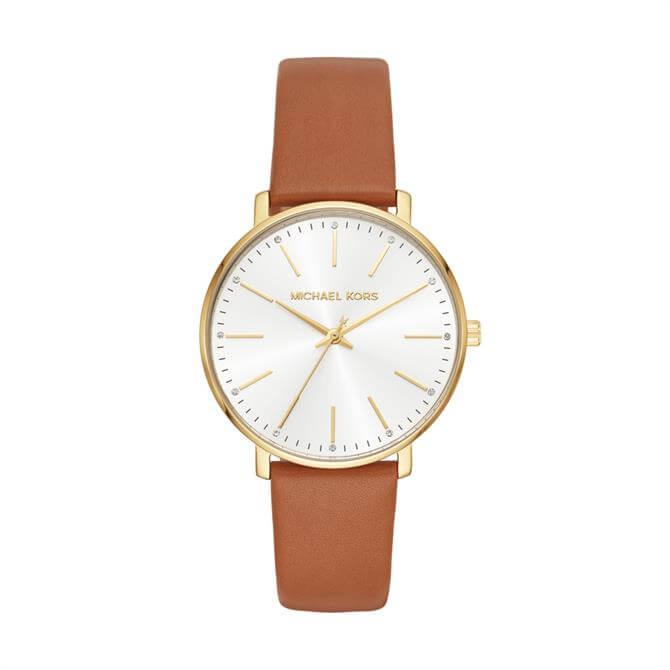 Michael Kors Women's Gold-Tone & Luggage Leather Pyper Watch