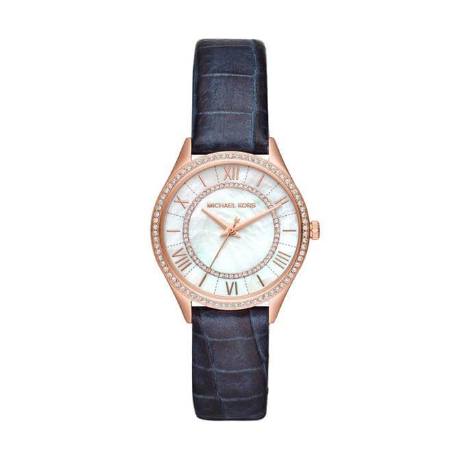 Michael Kors Women's Mini Lauryn Three-Hand Blue Leather Watch