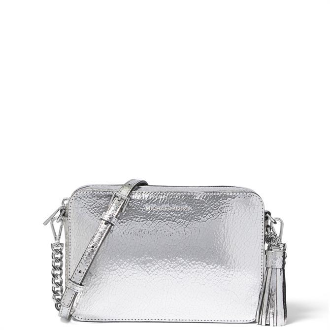 Michael Michael Kors Ginny Medium Crackled Metallic Silver Leather Crossbody Bag
