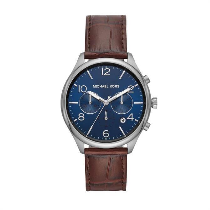 Michael Kors Men's Merrick Brown Leather Watch