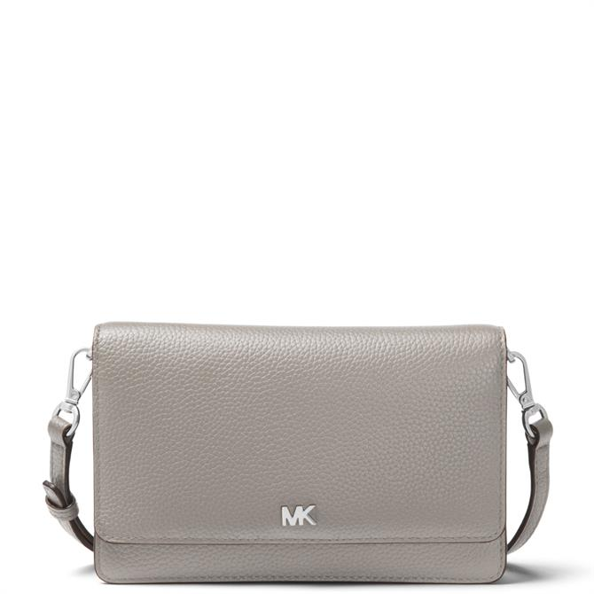 Michael Michael Kors Pearl Grey Pebbled Leather Convertible Crossbody Bag