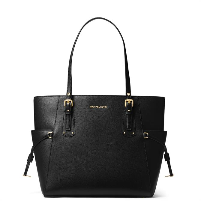 Michael Michael Kors Black Voyager Small Grossgrain Leather Tote Bag
