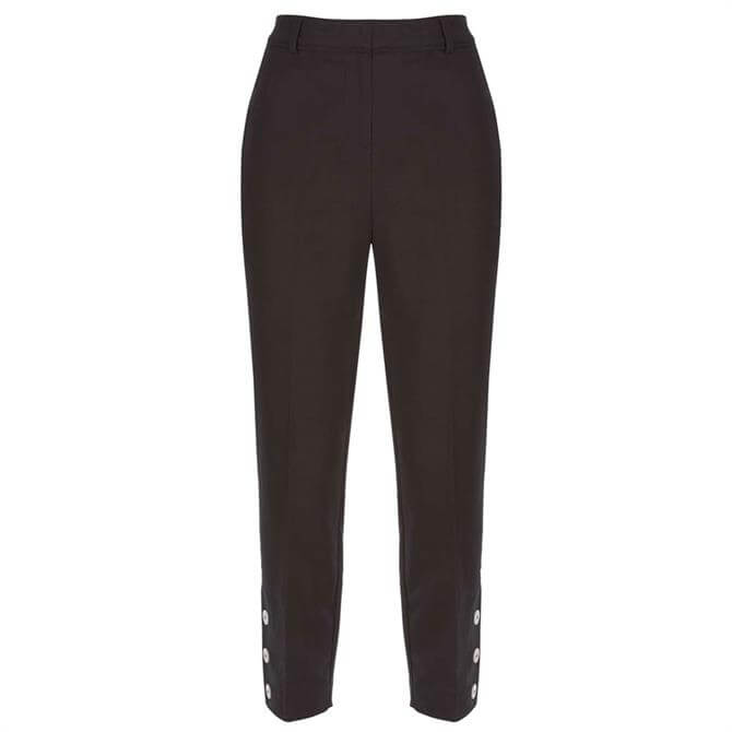 Mint Velvet Black Button Hem Capri Trouser