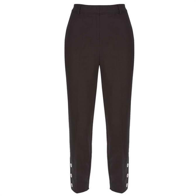 Mint Velvet Black Button Hem Capri Trouser