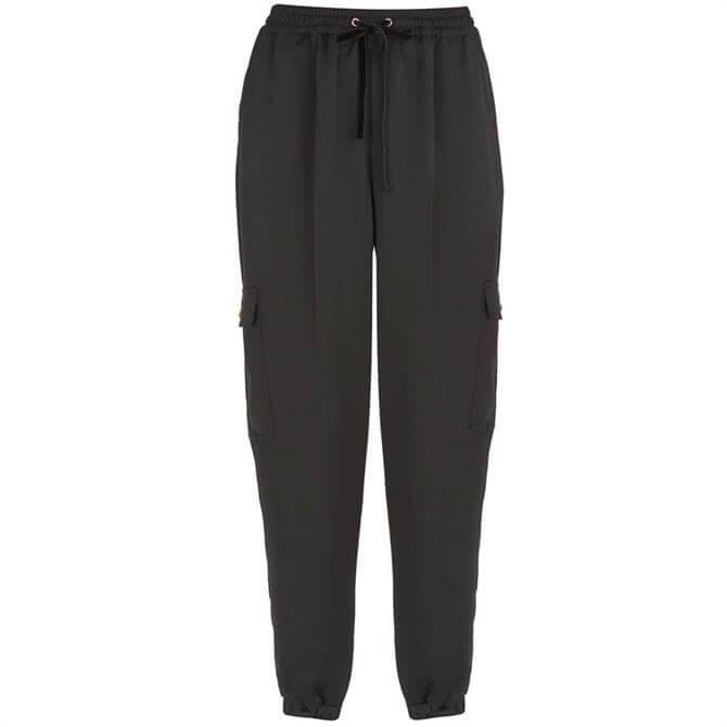 Mint Velvet Black Satin Utility Jogger Trousers