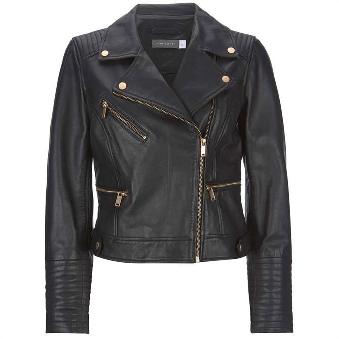Mint Velvet Stitched Leather Biker Jacket