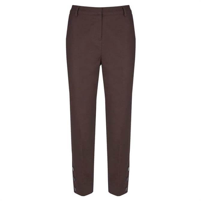 Mint Velvet Brown Button Hem Capri Trouser