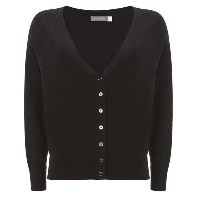Mint Velvet Black Button Front Cardigan