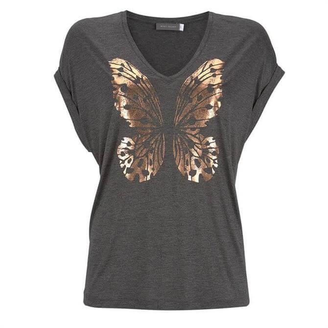 Mint Velvet Charcoal Foil Butterfly T-Shirt