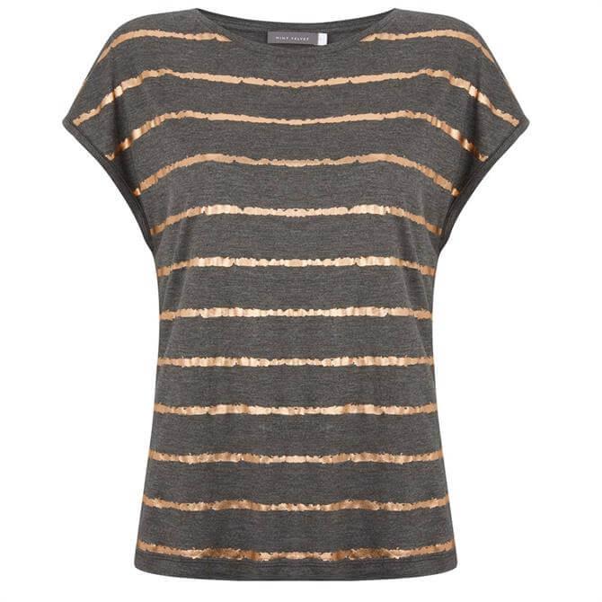 Mint Velvet Charcoal Foil Striped T-Shirt