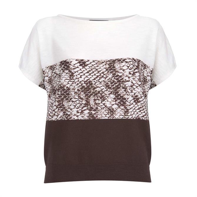 Mint Velvet Chocolate Snake Print Knit Top