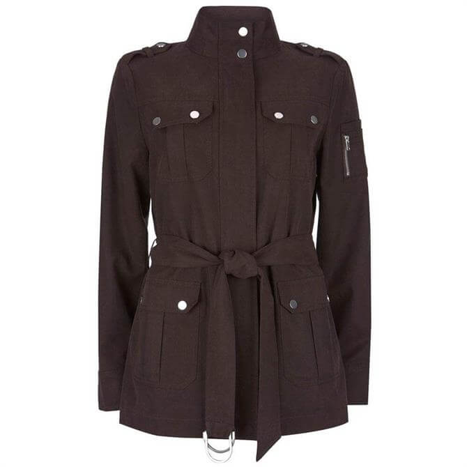 Mint Velvet Chocolate Brown Belted Utility Jacket