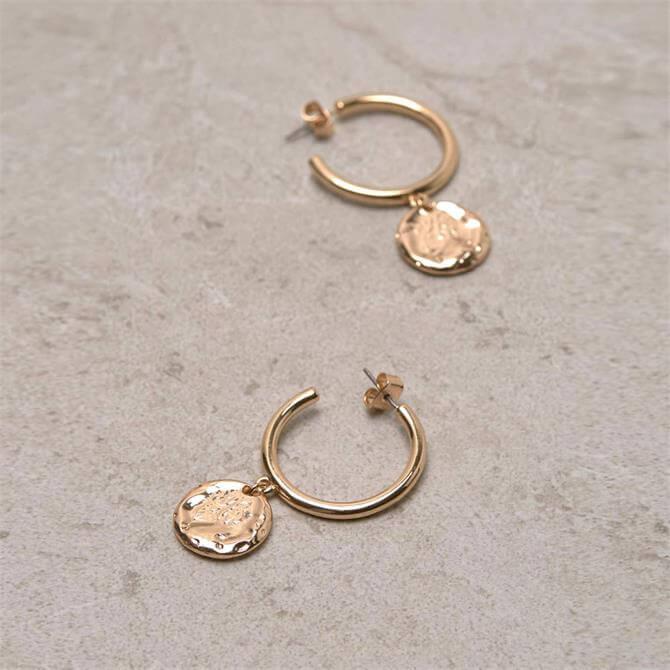 Mint Velvet Gold Tone Drop Disc Hoop Earrings
