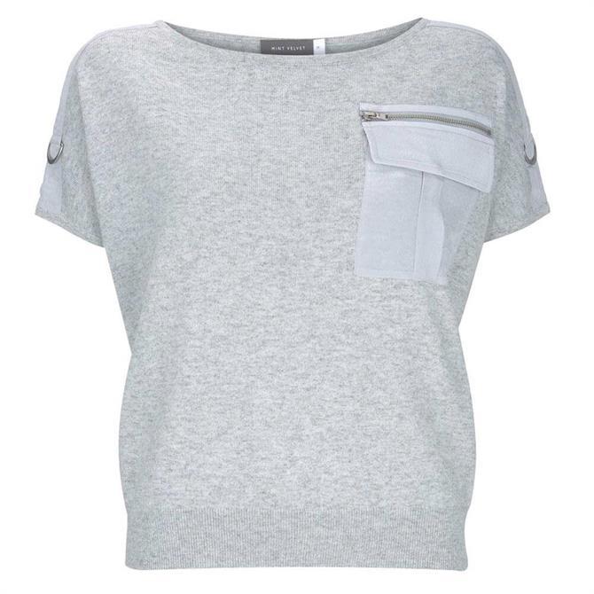 Mint Velvet Grey Military Pocket Knit Top