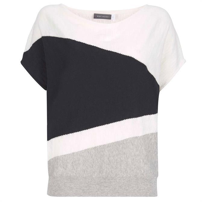 Mint Velvet Ivory Blocked Batwing T-Shirt