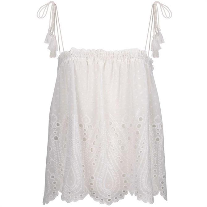 Mint Velvet Ivory Broderie Cami Vest Top