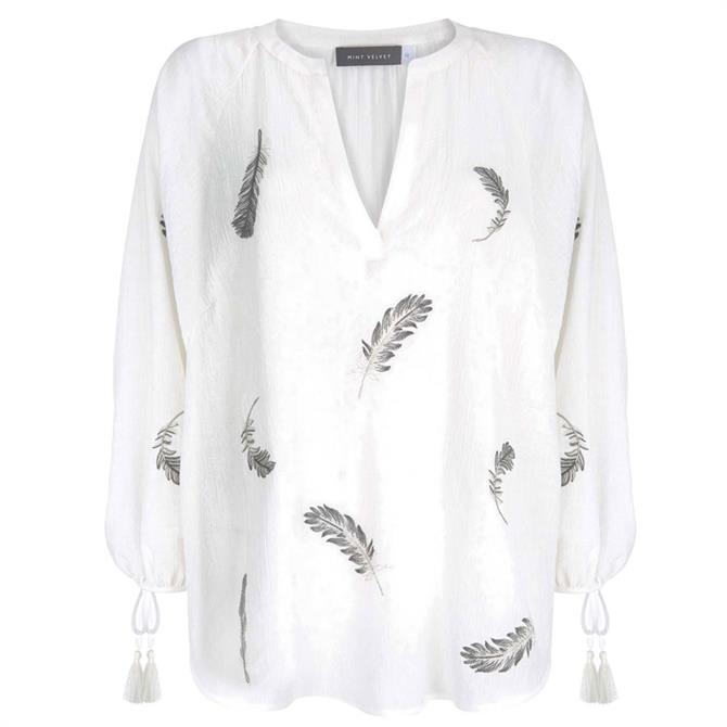 Mint Velvet Ivory Feather Embroidered Top