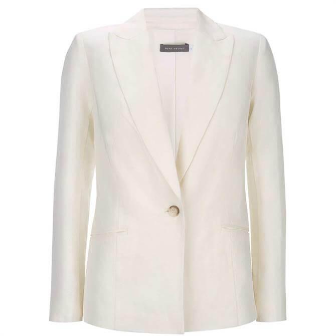 Mint Velvet Single Breasted Blazer White