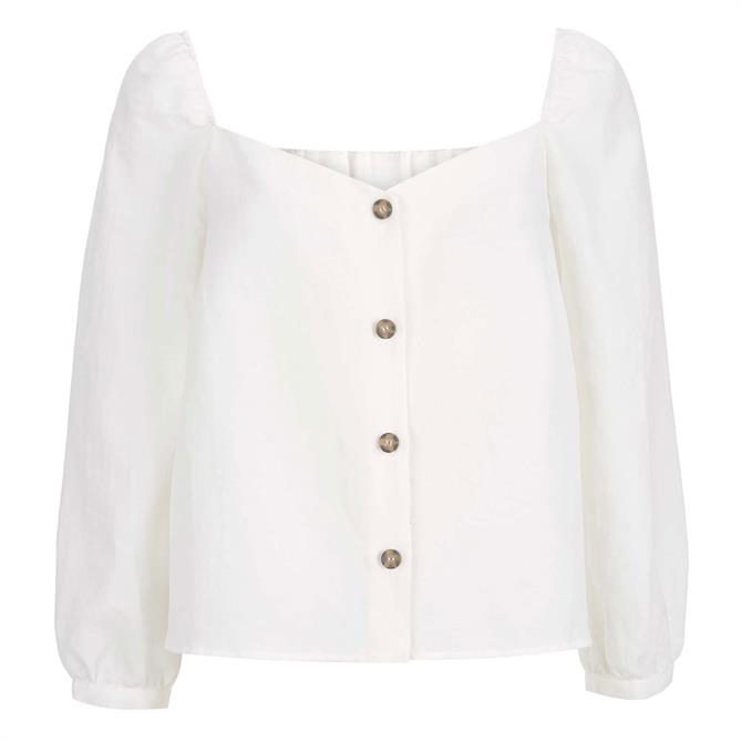 Mint Velvet Ivory Square Neck Buttoned Top