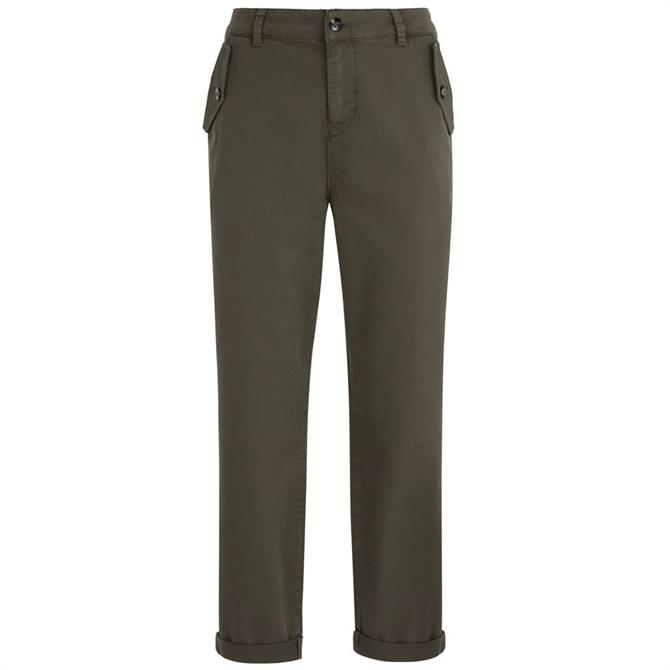 Mint Velvet Khaki Button Pocket Chino